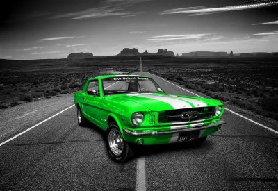 Limonkowy Ford Mustang