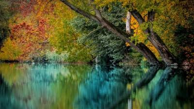 Jesienny krajobraz z rzeką
