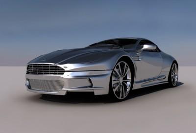 Srebrny Aston Martin