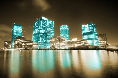 BG660 Niebieskie oświetlenie wieżowców londyńskich