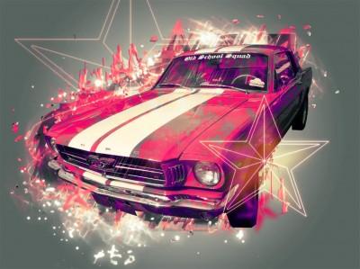 Różowy Ford Mustang