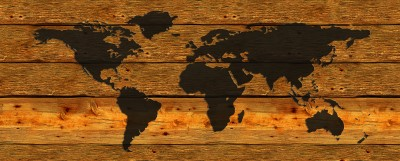Mapa świata na deskach