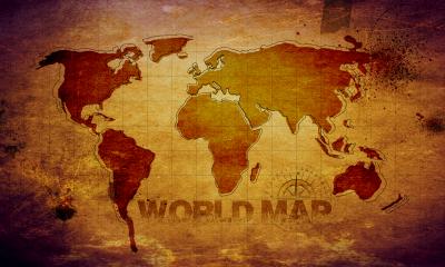 Brązowa mapa świata