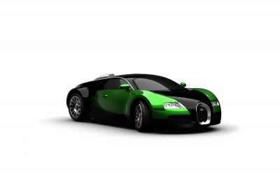 Zielone Bugatti Veyron