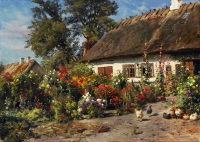 Wiejski domek z kwiatami