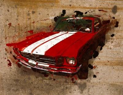 Czerwony Ford Mustang