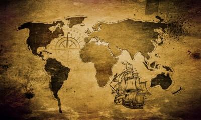 Mapa świata ze statkiem