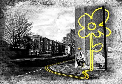 Banksy Żółty kwiatek