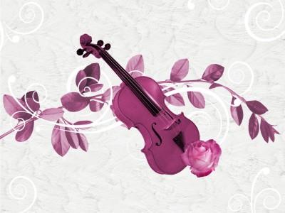 Pudrowo-różowe skrzypce