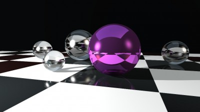 Fioletowa kula na kraciastym podłożu