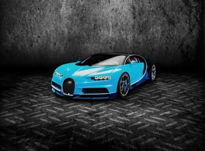 Niebieskie Bugatti Chiron