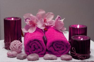 BG844 Fioletowa ręczniki i storczyki