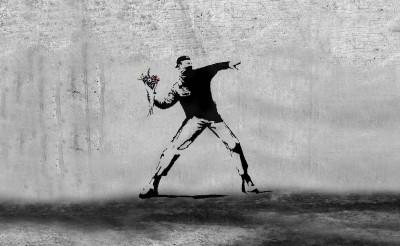 Banksy Zadymiarz Miotacz kwiatów
