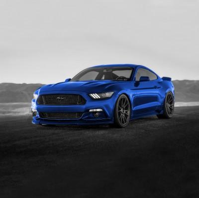 Niebieski Ford Mustang