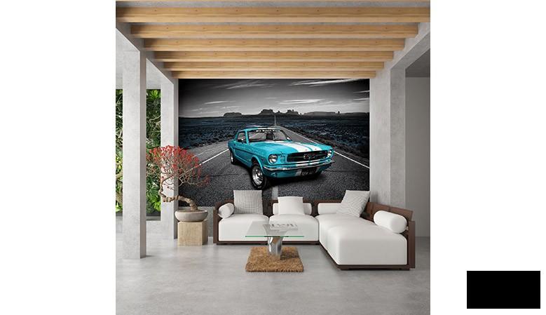 Błękitny Ford Mustang